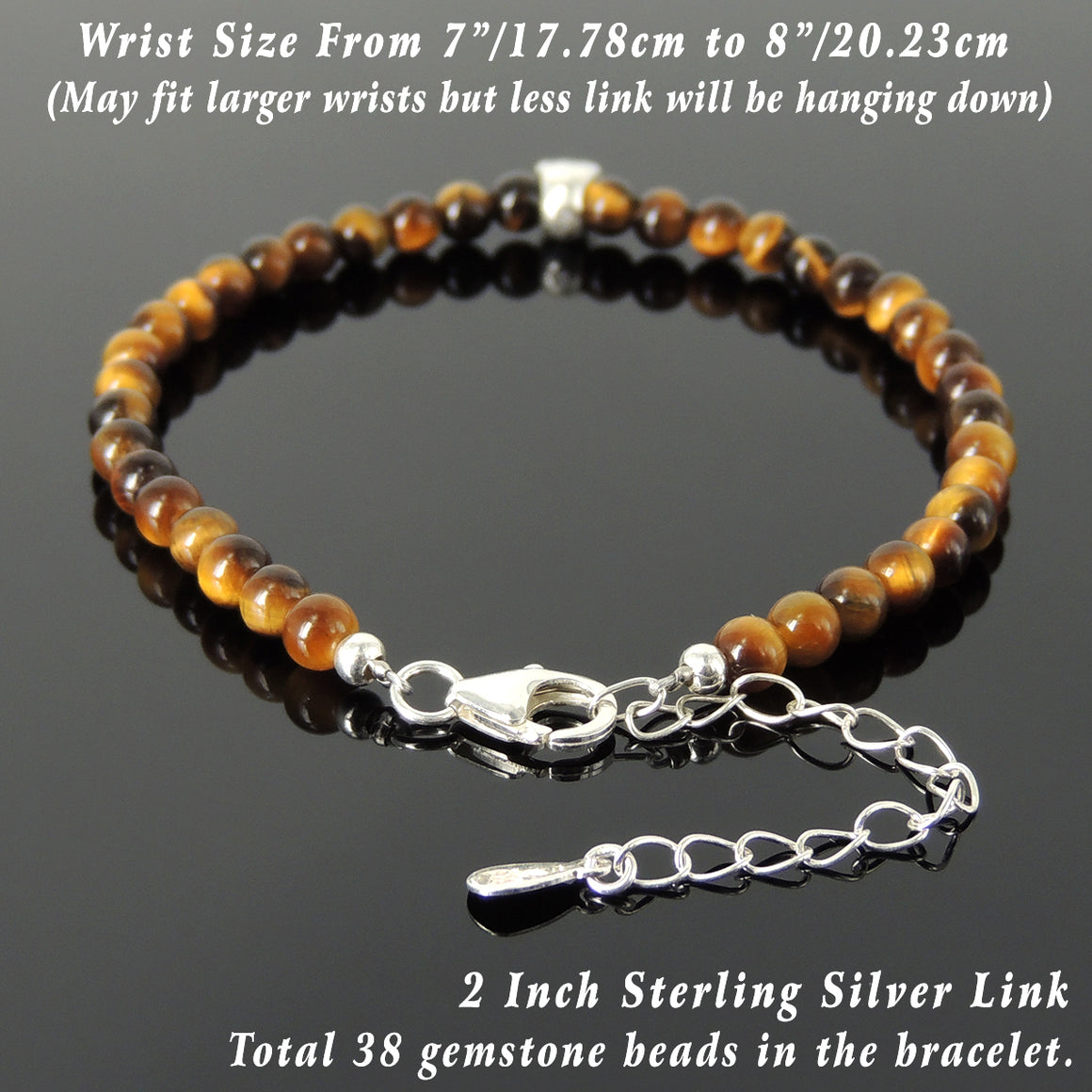 4mm Brown Tiger Eye Healing Gemstone Bracelet with S925 Sterling Silver Skull Protection Bead, Chain, & Clasp - Handmade by Gem & Silver BR1322