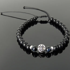 6mm Blue Tiger Eye & Matte Black Onyx Adjustable Braided Bracelet with S925 Sterling Silver Fleur de Lis Bead - Handmade by Gem & Silver BR1332