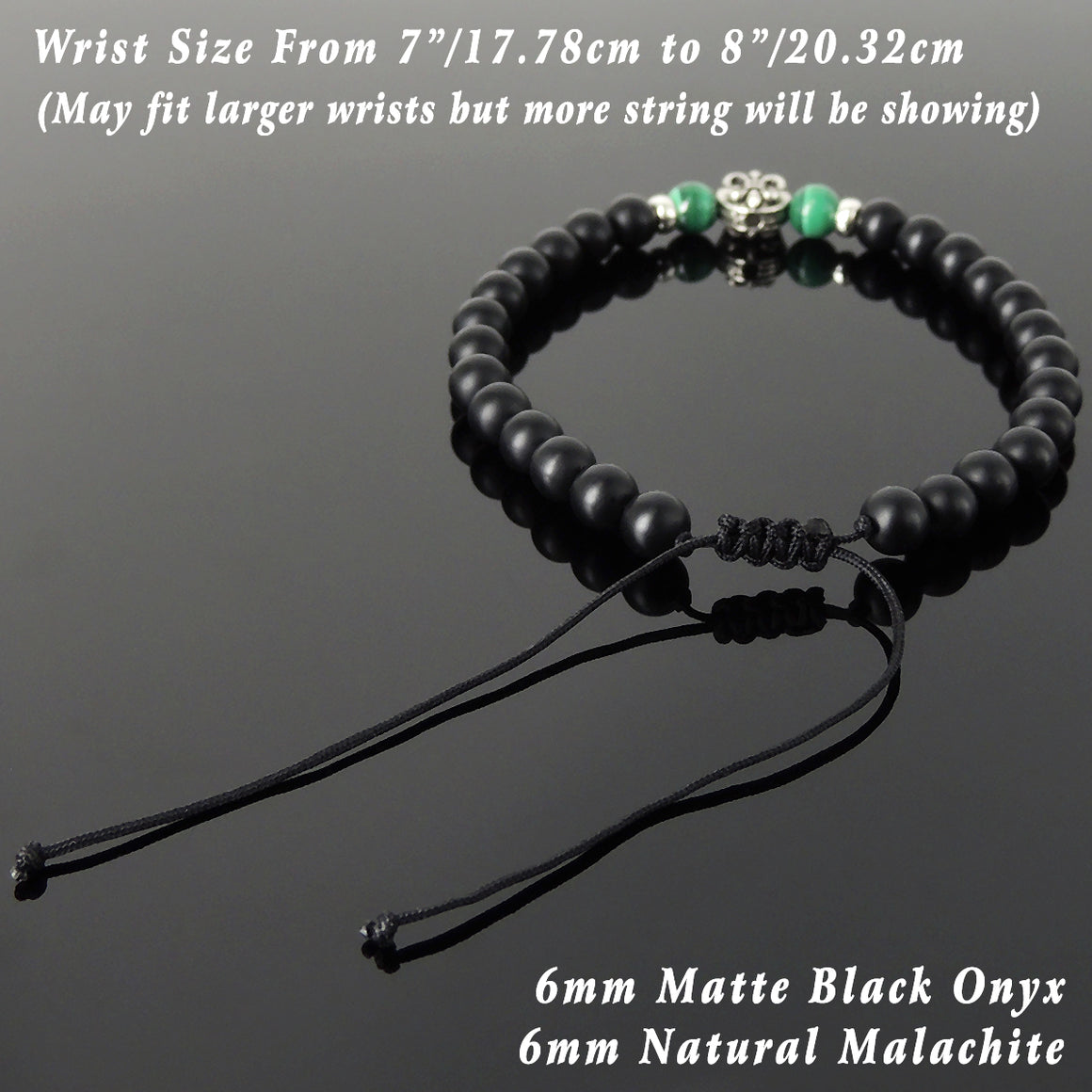 6mm Malachite & Matte Black Onyx Adjustable Braided Bracelet with S925 Sterling Silver Fleur de Lis Bead - Handmade by Gem & Silver BR1334