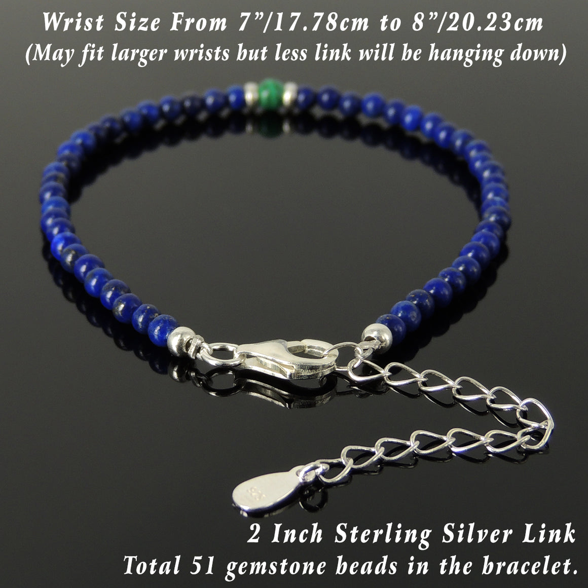 Malachite & Lapis Lazuli Healing Gemstone Bracelet with S925 Sterling Silver Beads, Chain, & Clasp - Handmade by Gem & Silver BR1342