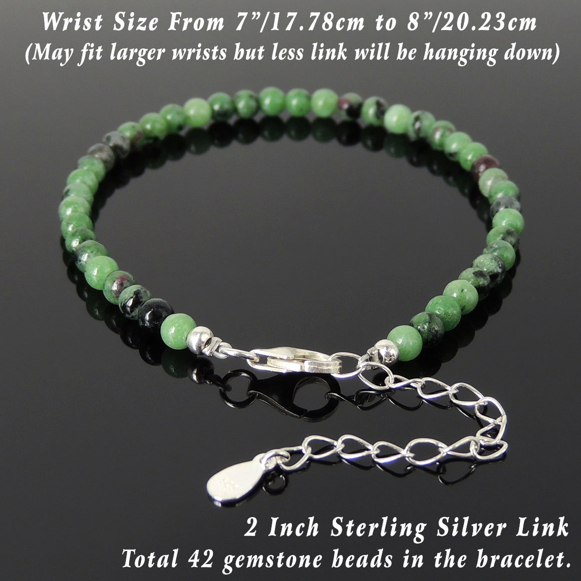 4mm Epidote Healing Gemstone Bracelet with S925 Sterling Silver Beads, Chain, & Clasp - Handmade by Gem & Silver BR1343