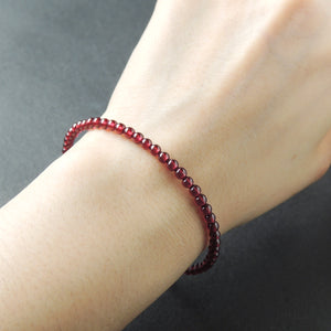 Handmade Elegant Grade AAAA Garnet Gemstone Bracelet - Men's Women's Heart Chakra Healing, 3.5mm Beads with S925 Sterling Silver, Chain, Clasp BR1348