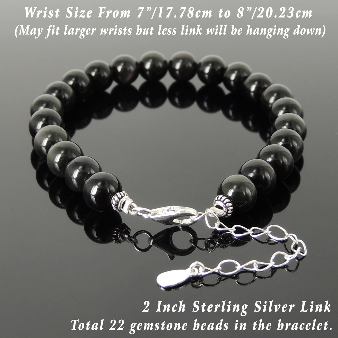 8mm Rainbow Black Obsidian Healing Gemstone Bracelet with S925 Sterling Silver Beads, Chain, & Clasp - Handmade by Gem & Silver BR1353