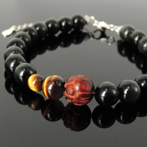8mm Grade 3A Brown Tiger Eye & Rainbow Black Obsidian Healing Gemstone Bracelet with Natural India Rosewood Lotus, S925 Sterling Silver Chain & Clasp - Handmade by Gem & Silver BR1371