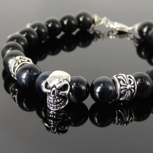 8mm Blue Tiger Eye & Rainbow Black Obsidian Healing Gemstone Bracelet with S925 Sterling Silver Gothic Skull & Cross Charms Chain & Clasp - Handmade by Gem & Silver BR1374
