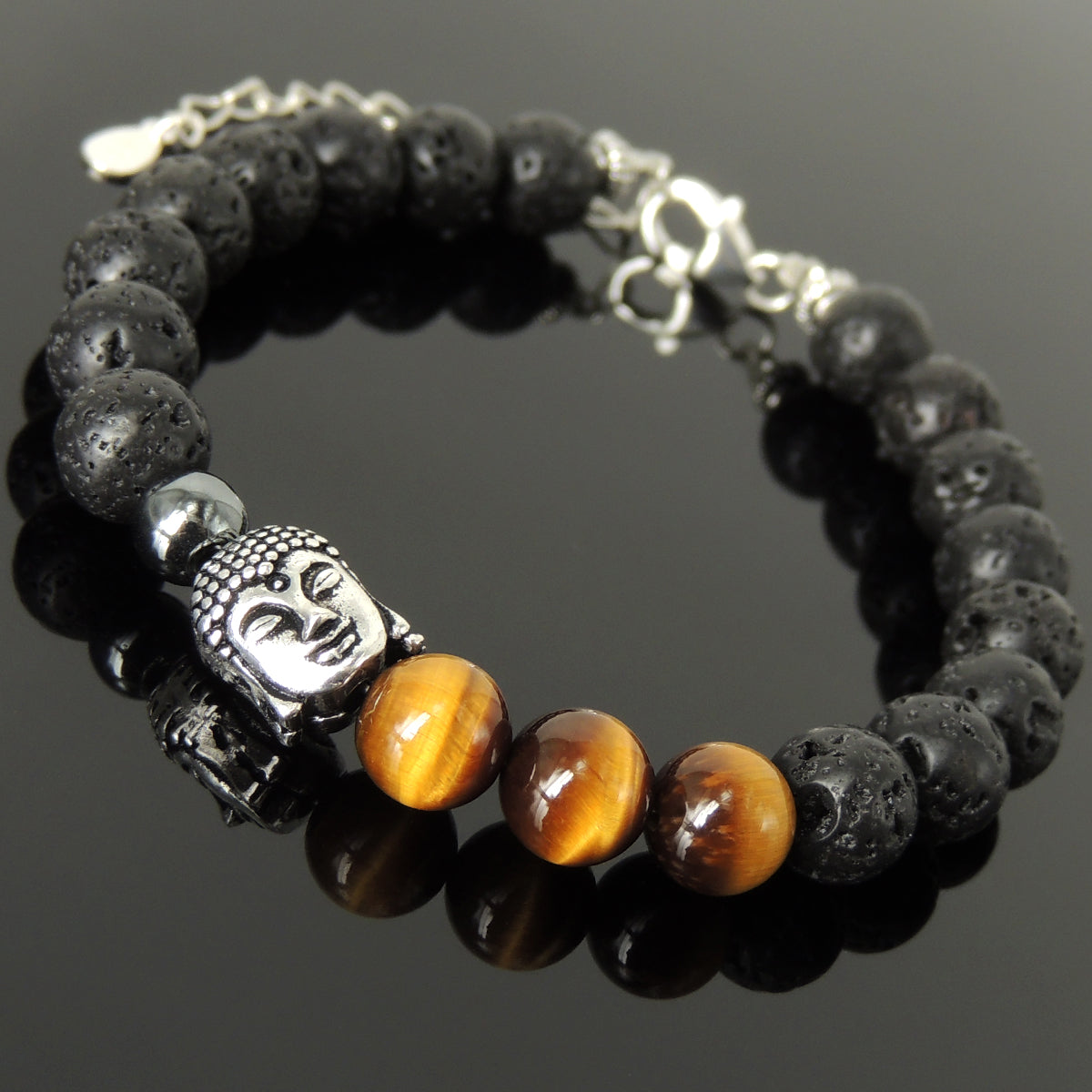 Grade 3A Brown Tiger Eye, Lava Rock, & Hematite Healing Stone Bracelet with S925 Sterling Silver Guanyin Buddha, Chain, & Clasp - Handmade by Gem & Silver BR1394
