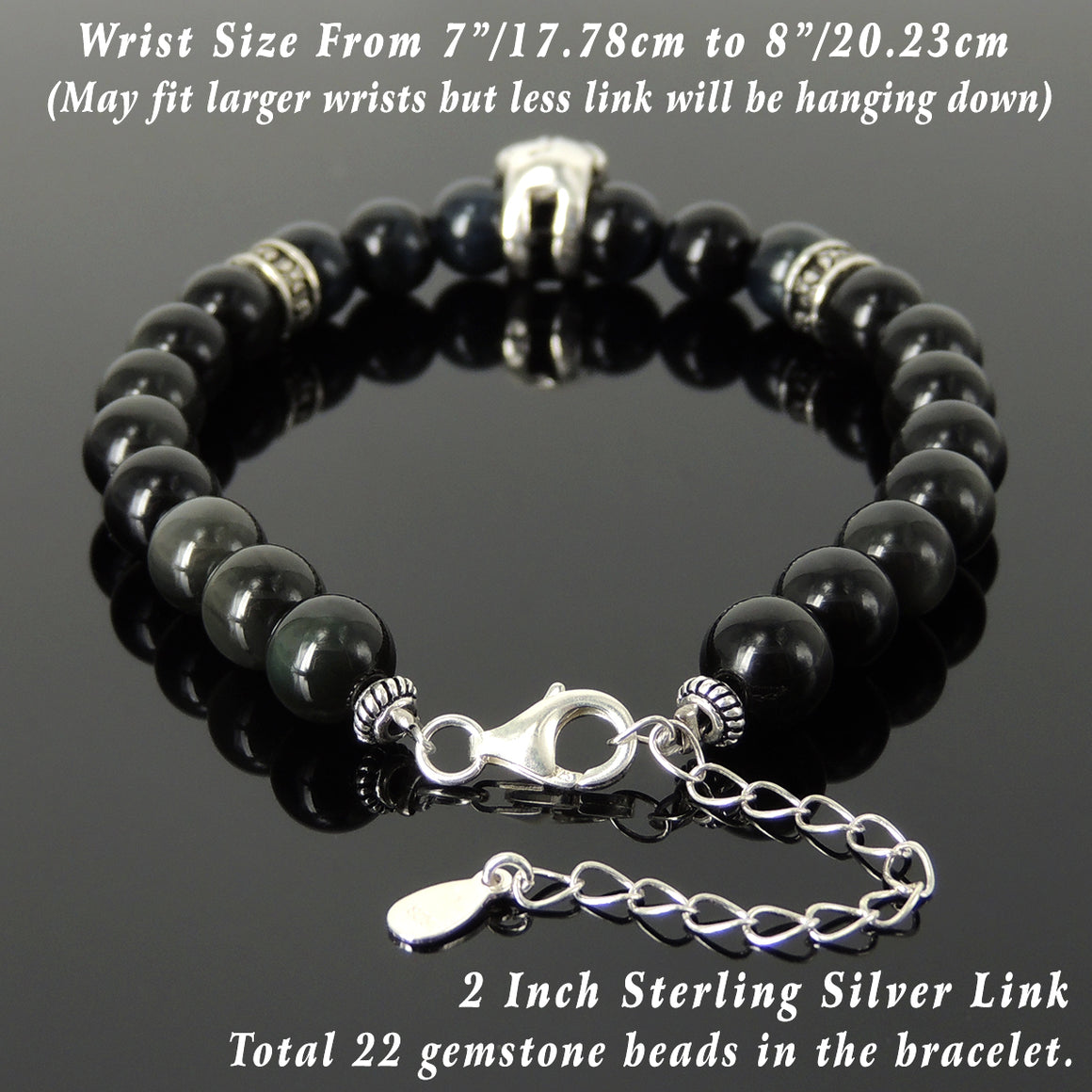 8mm Blue Tiger Eye & Rainbow Black Obsidian Healing Gemstone Bracelet with S925 Sterling Silver Protection Skull, Cross Pattern Spacers, Chain & Clasp - Handmade by Gem & Silver BR1407