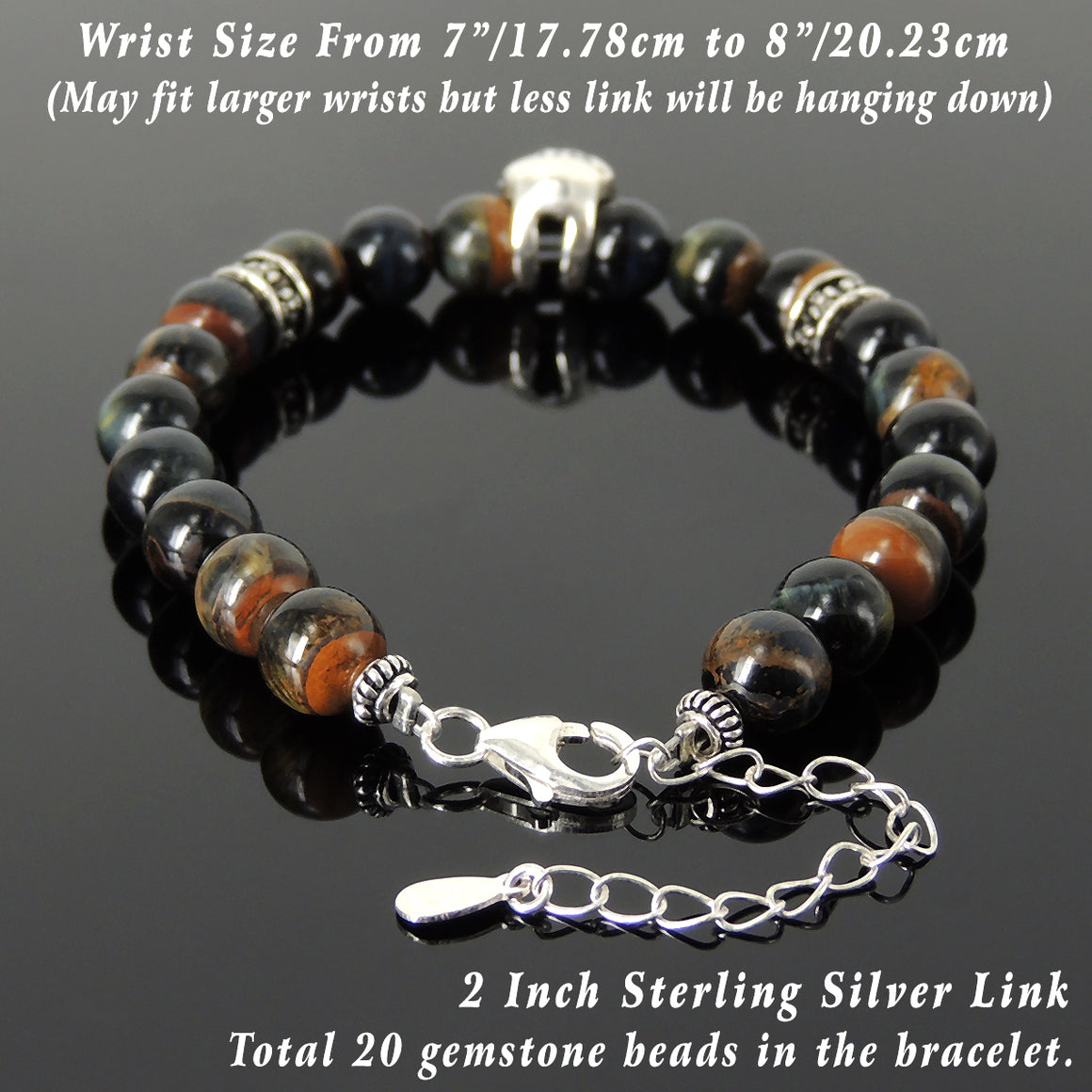 8mm Rare Mixed Blue Tiger Eye Healing Gemstone Bracelet with S925 Sterling Silver Protection Skull, Cross Pattern Spacers, Chain & Clasp - Handmade by Gem & Silver BR1414