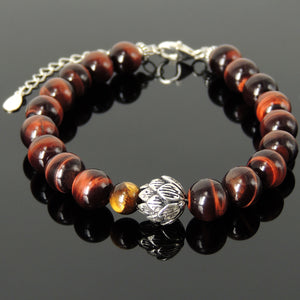 Red and Brown Tiger Eye Healing Gemstone Bracelet with S925 Sterling Silver Lotus Flower Yoga Bead, Chain & Clasp - Handmade by Gem & Silver BR1425