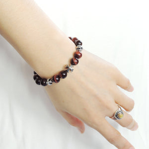 8mm Red Tiger Eye Healing Gemstone Bracelet with S925 Sterling Silver Spiritual Cross Beads, Chain, & Clasp - Handmade by Gem & Silver BR1439