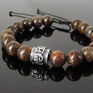 10mm Bronzite Stone Adjustable Braided Healing Bracelet with S925 Sterling Silver Grounding Yogi Barrel Bead - Handmade by Gem & Silver BR1464