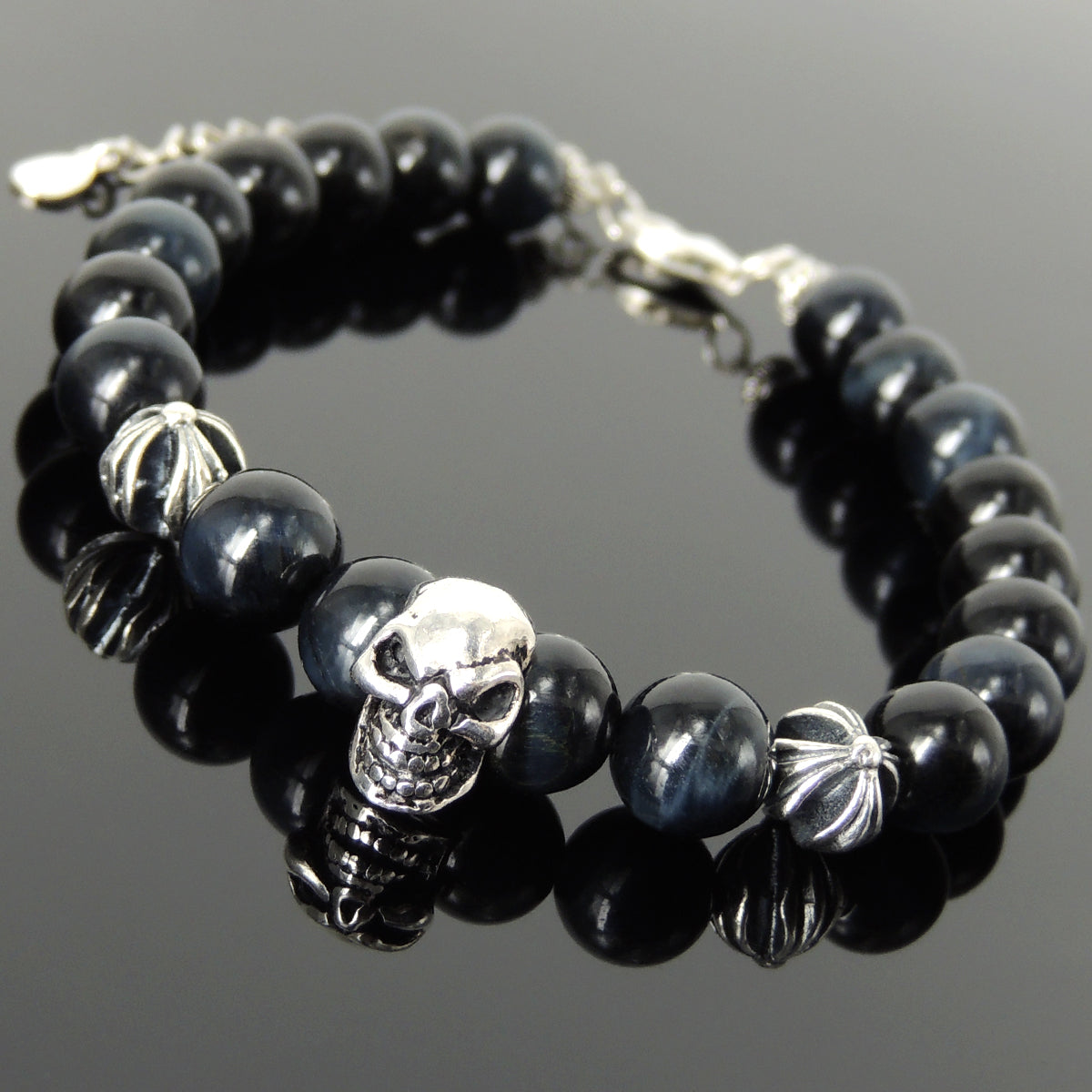 Spiritual Skull & Cross Clasp Bracelet with Healing Blue Tiger Eye 8mm Gemstones with Genuine S925 Sterling Silver Parts - BR1477