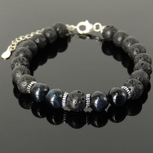 Handmade Tarot Practice Karma Bracelet with Healing Yoga Enhancement Lava Rock & Blue Tiger Eye 8mm Protection Stones, Genuine S925 Sterling Silver Parts - BR1482