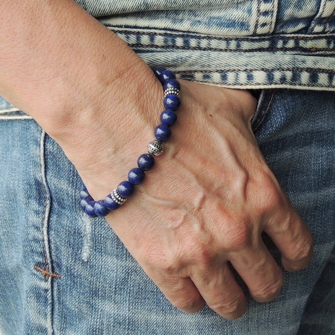 Yoga Pilates Energy Stamina Bracelet with Healing High Grade Lapis Lazuli 8mm Gemstones & Genuine S925 Sterling Silver Energy Beads, Clasp, Chain - BR1503
