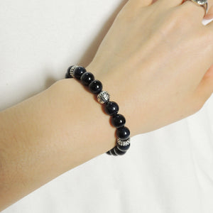 Yoga Pilates Chakra Energy Bracelet with Healing 8mm Blue Tiger Eye Conscious Meditation Gemstones & Genuine S925 Sterling Silver Energy Beads, Clasp, Chain - BR1507