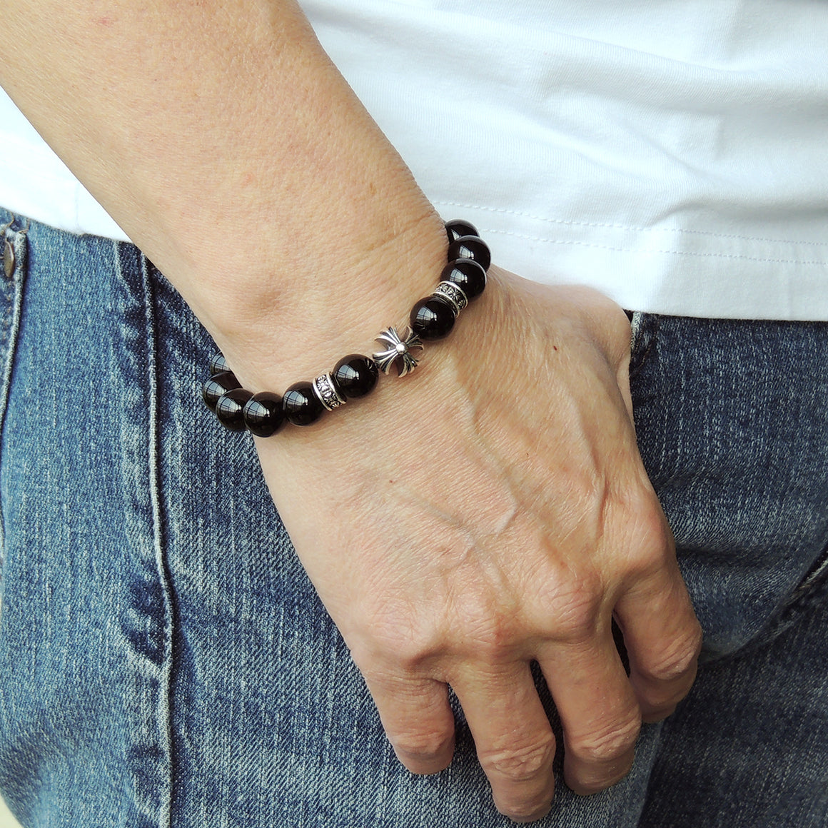 Handmade Cross Pattern Design Braided Bracelet Healing Bright Black Onyx 10mm Gemstones for Grounding Conscious Meditation & Wellness with Genuine S925 Sterling Silver Beads - BR1510
