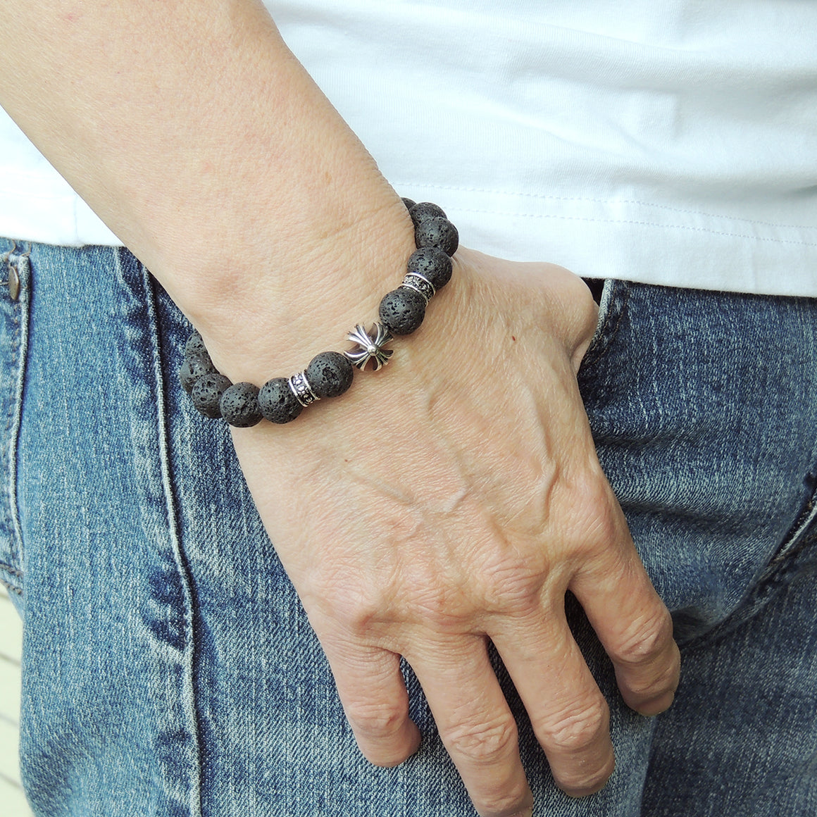 Handmade Cross Pattern Design Braided Bracelet Healing Lava Rock 10mm Stones for Grounding Conscious Meditation & Prayer with Genuine S925 Sterling Silver Beads - BR1513