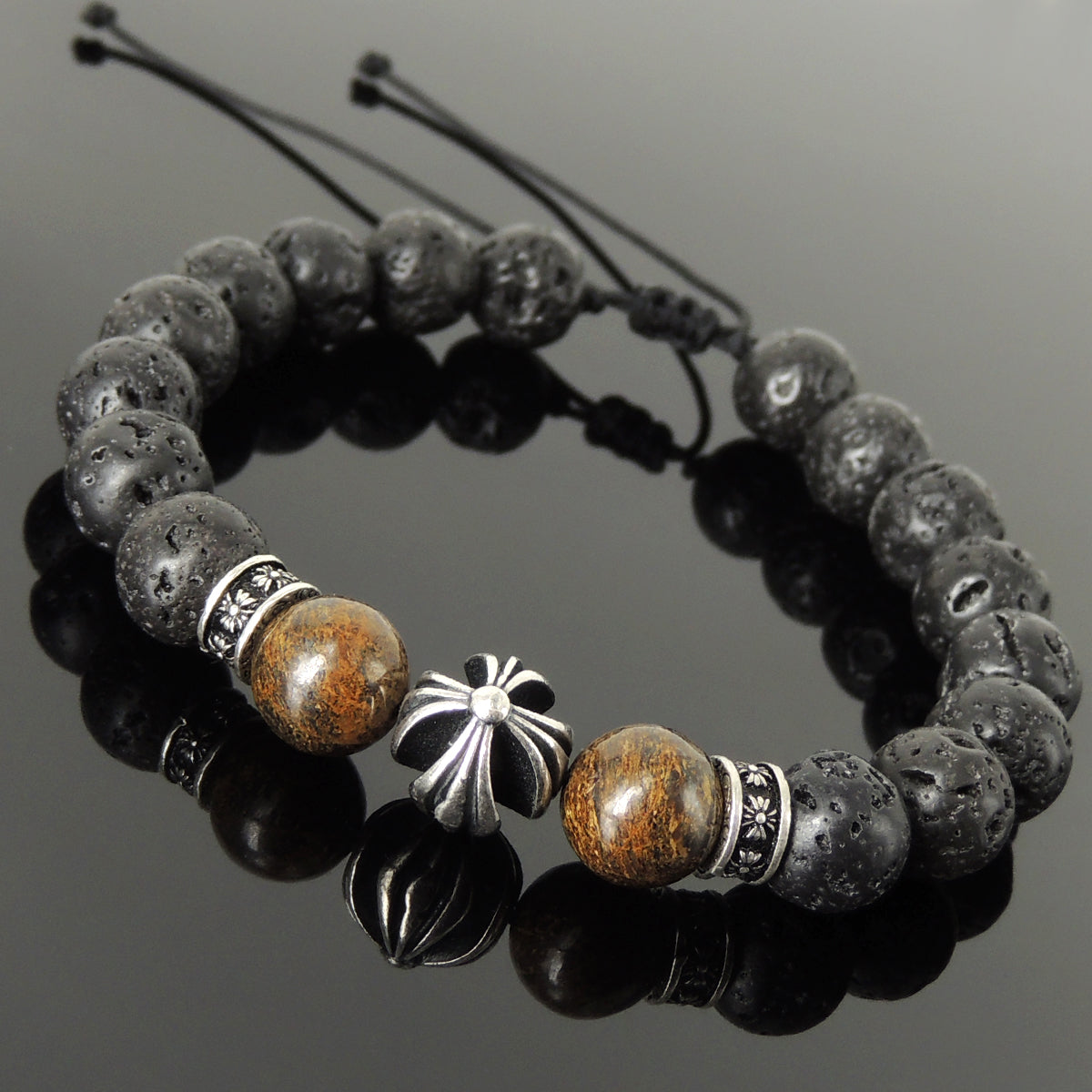 Handmade Braided Cross Pattern Design Bracelet - Healing Protection 10mm Bronzite Stone, Lava Rock Stone Beads, Adjustable Drawstring, & Genuine 925 Sterling Silver Parts - BR1523