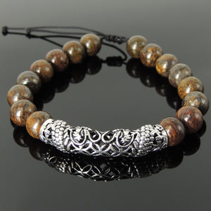 Handmade Chinese Zodiac Dragon Braided Bracelet - 10mm Bronzite Stone Beads Healing Sacred Geometry, Adjustable Drawstring, & Genuine 925 Sterling Silver Parts BR1534