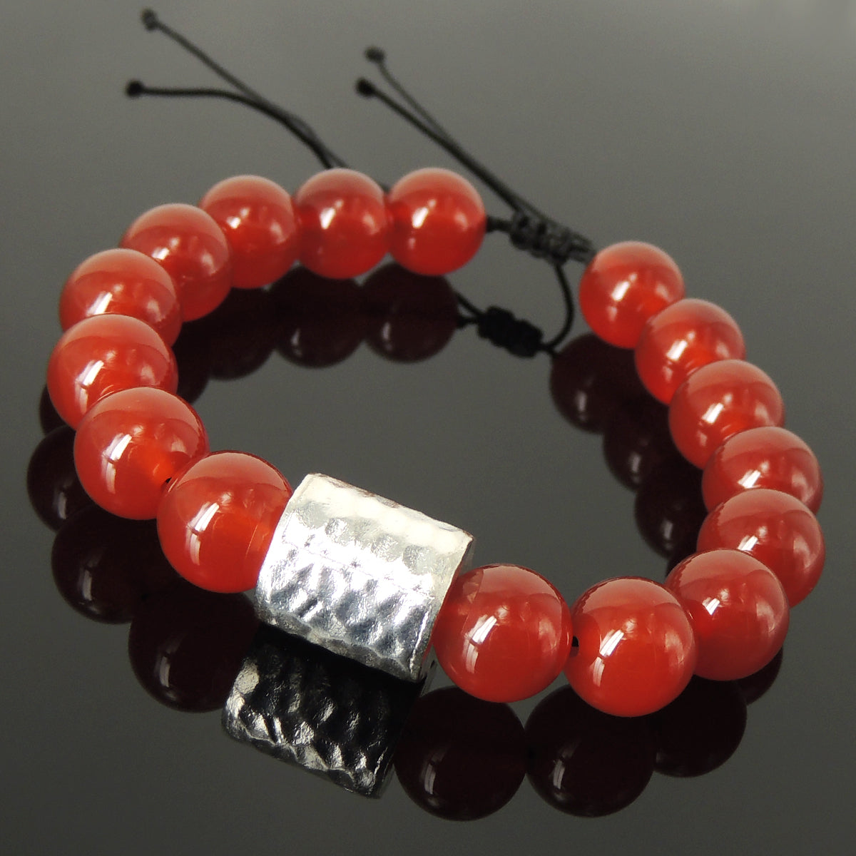 Handmade Braided Soothing Bracelet - 12mm Red Agate Gemstones Healing Harmony Yoga Protection, Adjustable Drawstring, & Genuine S925 Sterling Silver Faceted Barrel Bead BR1541