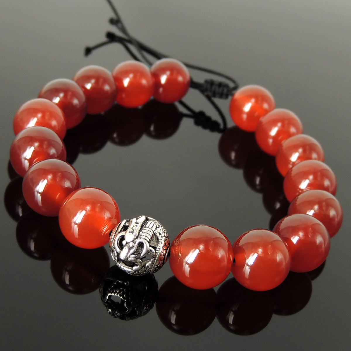 Handmade Asian Dragon Braided Bracelet - Men & Women Harmony Protection with Red Agate 12mm Gemstones, Adjustable Drawstring, S925 Sterling Silver Bead