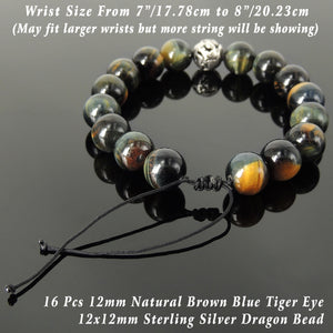 Handmade Dragon Braided Bracelet - Men & Women Energizing Protection with Brown Blue Tiger Eye 12mm Gemstones, Adjustable Drawstring, S925 Sterling Silver Bead BR1551