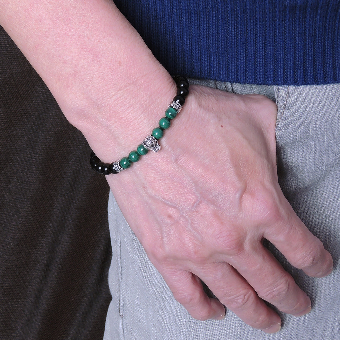 Handmade Wolf Braided Bracelet - 6mm Malachite & Rainbow Black Obsidian Gemstones, Adjustable Drawstring, S925 Sterling Silver Beads BR1554