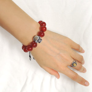 Handmade Braided Biker Skull Bracelet - Red Agate 12mm Gemstones, Adjustable Drawstring, S925 Sterling Silver Charm BR1578