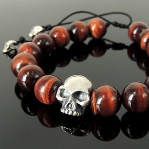 Handmade Braided Biker Skull Bracelet - Red Tiger Eye 12mm Gemstones, Adjustable Drawstring, S925 Sterling Silver Charm BR1580