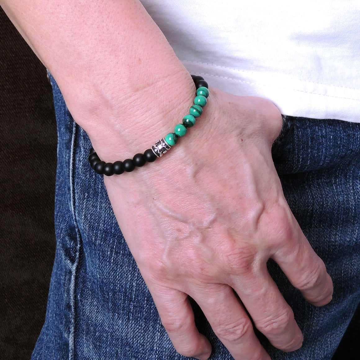 Handmade Braided Fleur de Lis Bracelet - Malachite & Matte Black Onyx 6mm Gemstones, Adjustable Drawstring, S925 Sterling Silver Barrel Bead BR1583