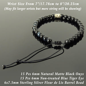 Handmade Braided Fleur de Lis Bracelet - Blue Tiger Eye & Matte Black Onyx 6mm Gemstones, Adjustable Drawstring, S925 Sterling Silver Barrel Bead BR1589
