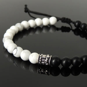 Handmade Braided Fleur de Lis Bracelet - White Howlite & Matte Black Onyx 6mm Gemstones, Adjustable Drawstring, S925 Sterling Silver Barrel Bead BR1593