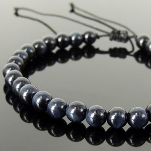 Handmade Braided Healing Gemstone Bracelet - 6mm Blue Tiger Eye & Adjustable Drawstring BR1606
