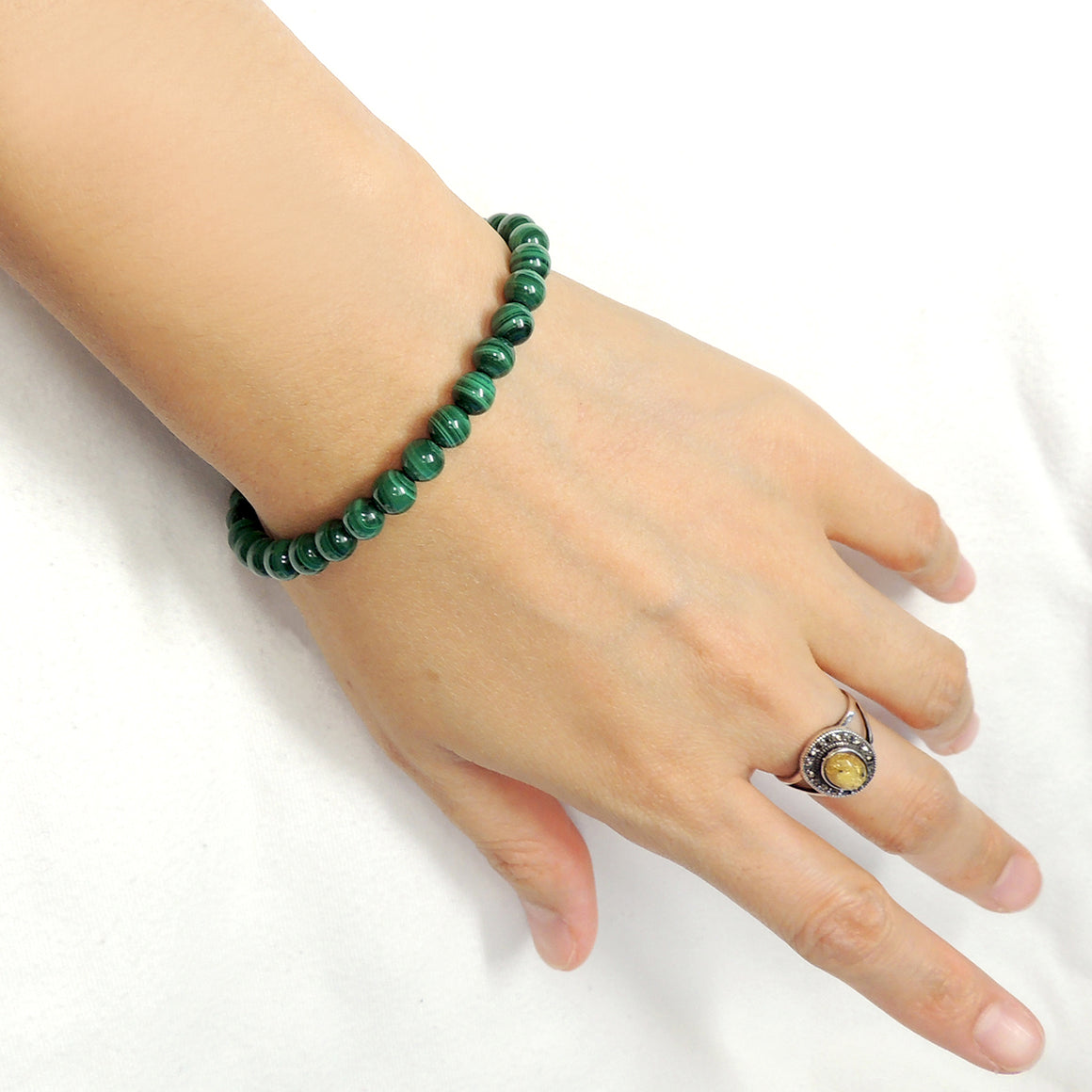 Handmade Braided Healing Gemstone Bracelet - 6mm Malachite & Adjustable Drawstring BR1607