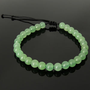 Handmade Braided Healing Gemstone Bracelet - 6mm Aventurine Quartz & Adjustable Drawstring BR1612