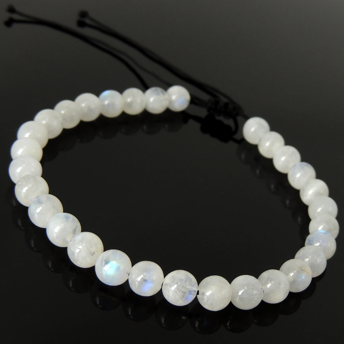 Handmade Braided Healing Gemstone Bracelet - 6mm Moonstone Crystal & Adjustable Drawstring BR1614