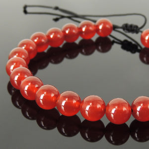 Chakra Alignment Tai Chi Meditation Protection Compassion Handmade Braided Healing Gemstone Bracelet - 8mm Red Agate & Adjustable Drawstring BR1624