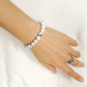 Handmade Braided Healing Gemstone Bracelet - 8mm White Howlite & Adjustable Drawstring BR1627
