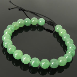 Tai Chi Meditation Compassion Protection Handmade Braided Healing Gemstone Bracelet - 8mm Aventurine Quartz & Adjustable Drawstring BR1628