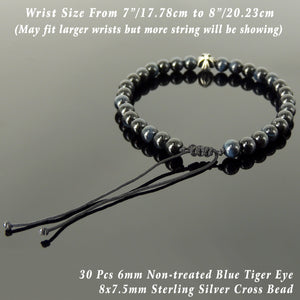 Handmade Braided Healing Gemstone Bracelet - 6mm Blue Tiger Eye, Genuine S925 Sterling Silver Cross Bead, Adjustable Drawstring BR1637
