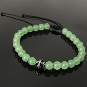 Handmade Braided Healing Diffuser Gemstone Bracelet - 6mm Aventurine Quartz, Genuine S925 Sterling Silver Cross Bead, Adjustable Drawstring BR1645