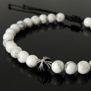 Handmade Braided Healing Gemstone Diffuser Bracelet - 6mm White Howlite, Genuine S925 Sterling Silver Cross Bead, Adjustable Drawstring BR1647
