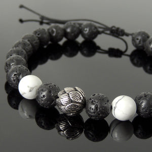Handmade Braided Healing Wish Bracelet - 8mm White Howlite & Lava Rock Stones, Genuine S925 Sterling Silver Lotus Blossom Bead, Adjustable Drawstring BR1655