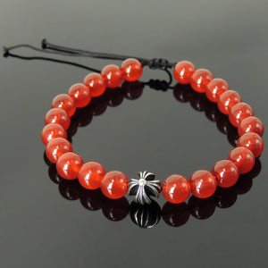 Handmade Braided Healing Gemstone Prayer Bracelet - 8mm Red Agate, Genuine S925 Sterling Silver Cross Bead, Adjustable Drawstring BR1670