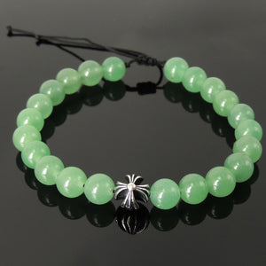 Handmade Braided Healing Gemstone Prayer Bracelet - 8mm Aventurine Quartz, Genuine S925 Sterling Silver Cross Bead, Adjustable Drawstring BR1680