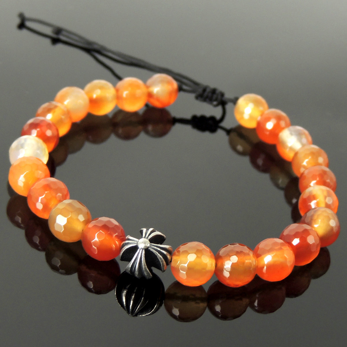 Handmade Braided Healing Gemstone Prayer Bracelet - 8mm Faceted Carnelian, Genuine S925 Sterling Silver Cross Bead, Adjustable Drawstring BR1681