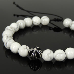 Handmade Braided Healing Gemstone Prayer Bracelet - 8mm White Howlite, Genuine S925 Sterling Silver Cross Bead, Adjustable Drawstring BR1684