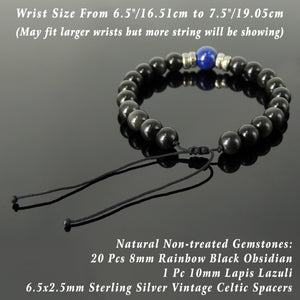 Vintage Celtic Handmade Braided Gemstone Bracelet - Men & Women Healing Casual Wear with Lapis Lazuli, Rainbow Black Obsidian, Adjustable Drawstring, S925 Sterling Silver Spacer Beads BR1690