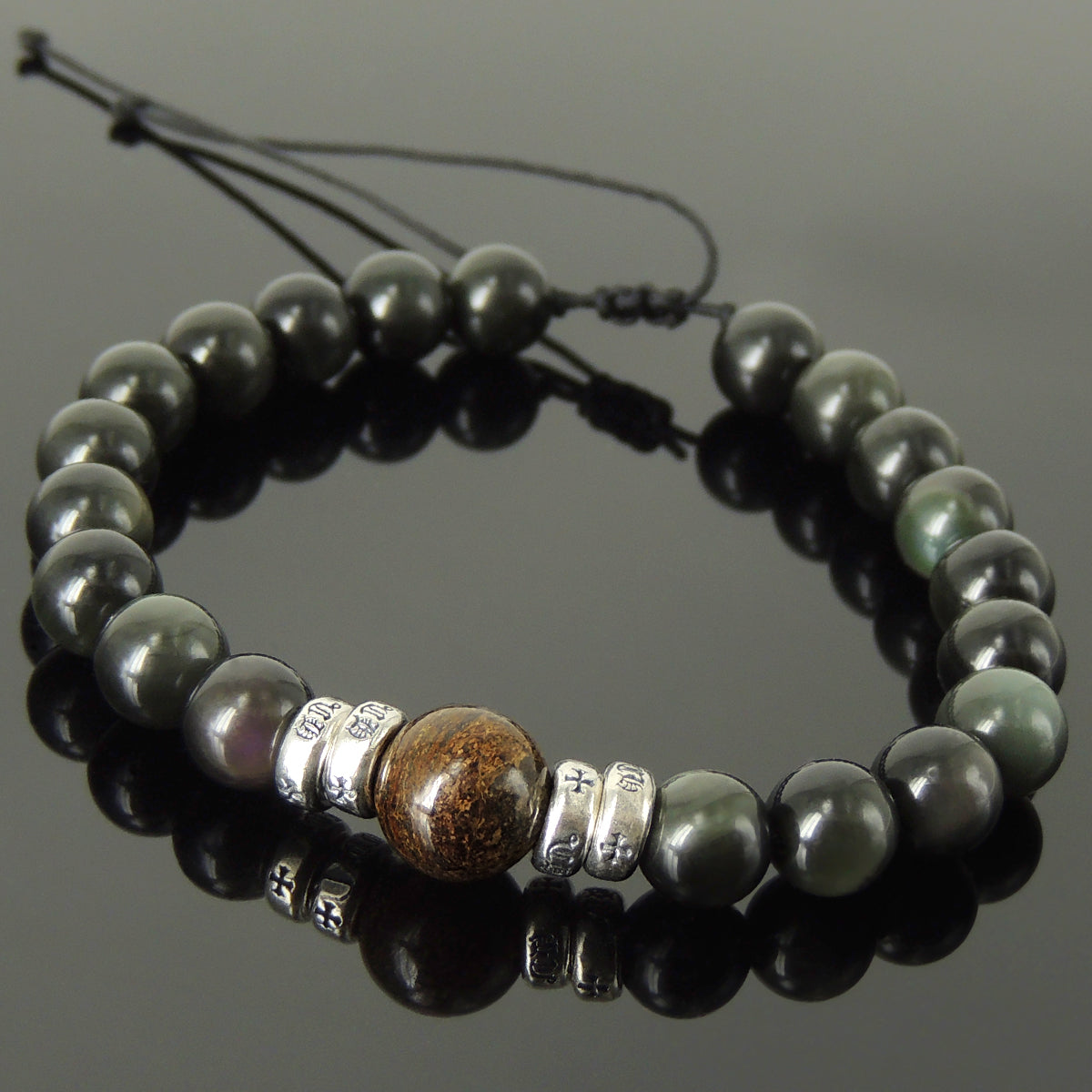 Vintage Celtic Handmade Braided Gemstone Bracelet - Men & Women Healing Casual Wear with Bronzite, Rainbow Black Obsidian, Adjustable Drawstring, S925 Sterling Silver Spacer Beads BR1692