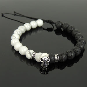 Biker Skull Jewelry Handmade Braided Stone Bracelet - Mens Womens Protection, Casual Wear with Lava Rock & White Howlite Adjustable Drawstring, Genuine S925 Sterling Silver Beads BR1700